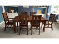 A QUALITY SOLID HARDWOOD 6 SEATER DINING TABLE & 6 MATCHING CHIARS INC 2 CARVERS FREE LOCAL DELIVERY