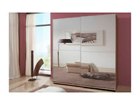 BRAND NEW sliding door wardrobe in choice of 4 colours with mirrors. DELIVERY AND ASSEMBLY INCLUDED