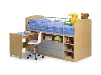 Mid sleeper bed with storage drawers and pull out desk