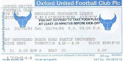 Ticket - Oxford United v Leicester City 23.04.94