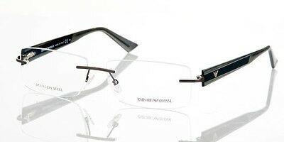 Emporio Armani EA9655 P08 Grey Smoke Eyeglasses Frame 55-18-140 Rimless Italy RX