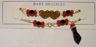New 14k Gold  'AZABACHE' Hearts Baby Bracelet-Free Ship!