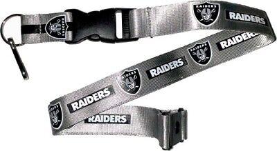 Silver Tone Football Keychain (Oakland Raiders Football NFL Silver Lanyard Key Ring Keychain w/ Safety)