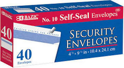 Bazic 10 40pk Self-seal White Letter Long Security Envelopes 4-18 X 9-12