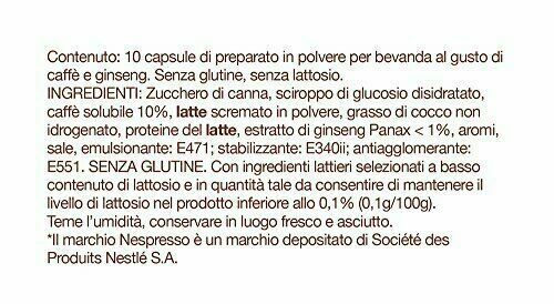 FoodNess 100 Capsule Caffè Al Ginseng Nespresso Senza LATTOSIO e GLUTINE