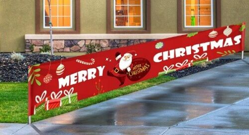 Merry Christmas Holiday Fence Sign Flag House Banner Bunting Outdoor Yard Decor