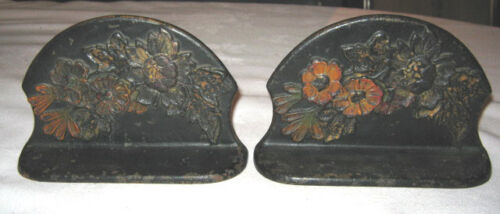 ANTIQUE VICTORIAN GOTHIC MEDIEVAL BOOKENDS CAST IRON FLOWER GARDEN BOOK ENDS
