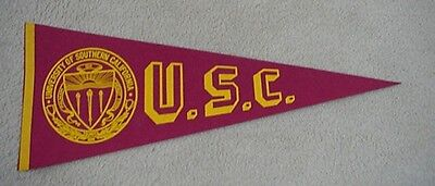 OLD 1960's SOUTHERN CAL USC TROJANS Full size Felt Pennant Unsold Stock Usc Trojans Pennant