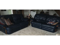NAVY RECLINING LEATHER SOFAS