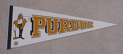 Old PURDUE BOILERMAKERS Mascot Logo Full Size Pennant UNSOLD CONCESSIONS STOCK