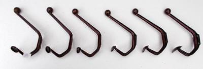 6 French Art Deco Shabby Chic Pressed Steel Industrial Coat Hooks. #A