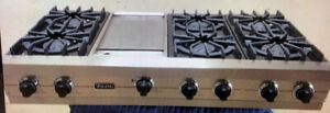Viking 48 Stainless Steel Gas Cook-top w griddle 48 $3000 as tor