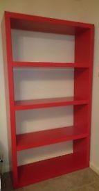 Large red shelving unit bookcase Ikea LACK