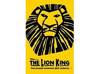 2x Tickets to see The Lion King @ Lyceum Theatre, tonight the 19th, Jan @7:30pm, Stalls seat,X row