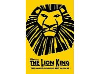 5x Tickets to see The Lion King @ Lyceum Theatre, tonight the 19th, Jan @7:30pm, Stalls seat,X row