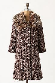 NWT Umbered Houndstooth Coat M ANTHROPOLOGIE by Tiny Fur Jacket Vintage Style