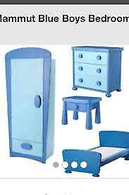 Ikea Mammut bedroom furniture set comprising of bed, wardrob, chest of drawers and bedside table