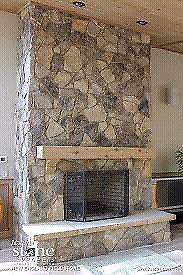Custom stone fireplace and mantles.