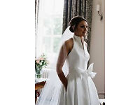 Jesus Peiro Ivory Wedding Dress - halterneck with collar and bow at waist and pockets - stunning