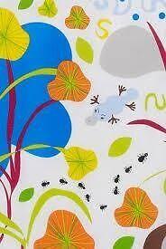Funky IKEA Naturskon Duvet cover & multicoloured stripy pillowcase & matching green pillow case.