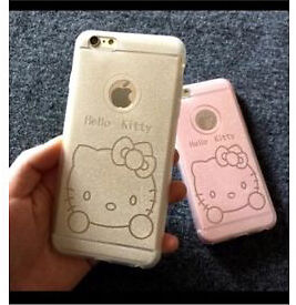 Hello Kitty Newest fashion glitter bownot soft silicone case for iPhone 6 6s