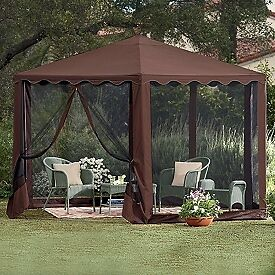 WATERPROOF-BROWN-SCREENED-STEEL-FRAMED-GAZEBO-TENT-TENTS-NEW