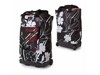 FOLDING FLAT WHEELIE bag black red floral collapsible light weight shopping