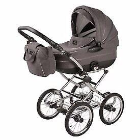 Babie bundle, pram with pushcair attachment, swing, steriliser and moses basket