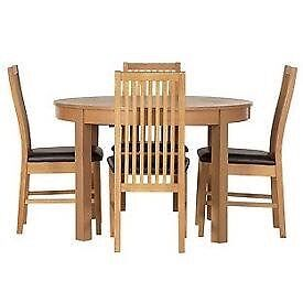 Massey round extending table and 4 Paris chairs