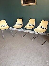4 Calligaris Jam Sleigh-Leg Chairs in Red/ White & Black / White Retro Style