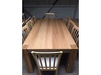 Alston Oak & Oak Veneer Dining Table With 8 Wooden Chairs