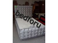 Cube Diamond Crush Velvet Silver Grey High Head Double Bed with Memory Foam Or Orthopedic Mattress.