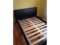 Double faux brown leather bed and mattress if required