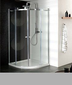 Simpsons Supreme Single Door Shower Enclosure : 900x900 + Quadrant 45mm Stone Resin Tray + Waste