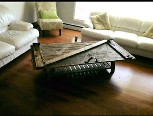 Rustic barn door coffee table