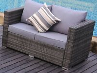 Rattan garden furniture (2 seater sofa - grey)