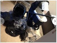 uppababy vista jake black pushchair and carry cot / travel system