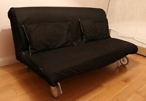 Two-seat sofa-bed, Vansta black - IKEA