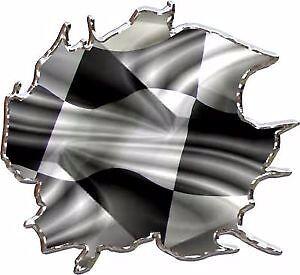 Race Car Checkered Flag (Checkered racing flag race car go kart vinyl graphic decal)