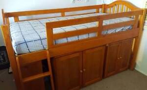 Timber cabin / loft bed with pull out desk, cupboard and bookcase Oatley Hurstville Area Preview