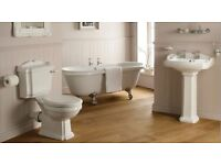 Victorian free standing roll top bath traditional toilet basin pedestal taps & waste complete suite