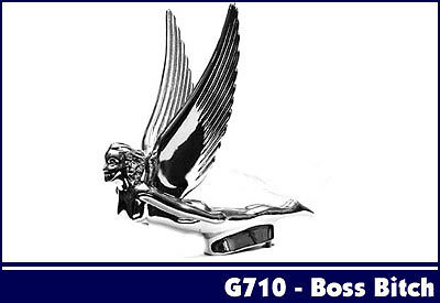 FLYING GIRL GODDESS LADY CAR TRUCK HOOD ORNAMENT ALL METAL CHROME ( 710 )