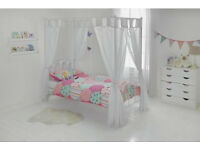 HOME Hearts Single 4 Poster Bed Frame - White
