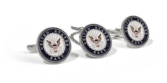 US Navy Tie Tack & Cuff Links in Leatherette Box Challenge Coin USN Seal Veteran