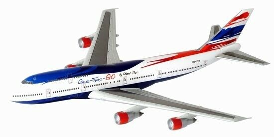 "RARE ORIENT THAI AIRLINES ""One-Two-GO"" Boeing 747-300 1:400 Die-Cast Scale Model #55735 Dragon Wings"