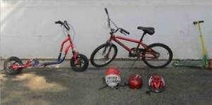 Bike and 2 scooters