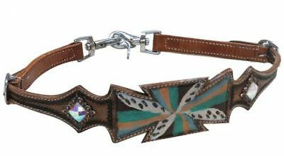 Painted Cross Leather Wither Strap Tiedown Barrel Racing BONUS 2 Trigger Snaps!