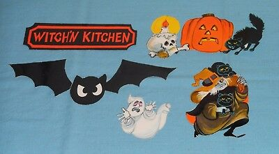 vintage LOT OF SMALL HALLOWEEN DECORATIONS Witch'n Kitchen skull ghost bat cat