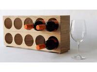 Wine Rack - 5 Bottle Stackable Units - Solid Natural Oak- NEW