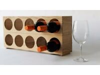 Wine Rack - 5 Bottle Stackable Units - Solid Natural Oak- NEW